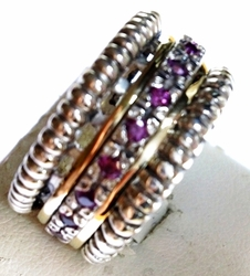 Spinner ring set with cz silver gold rhodolite