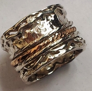 Spinner ring silver and gold
