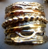 Spinner ring silver and gold made in Israel 2 cm
