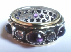 Spinner ring silver gold & amethyst with cz zircons stones