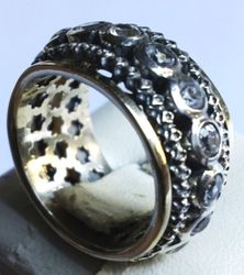 Spinner ring silver gold cz band