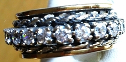 Spinner ring silver gold cz made in Israel