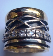 Spinner ring silver gold for men and women cz band Bague Anillo