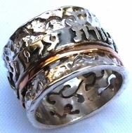 Spinner ring silver gold hebrew verse