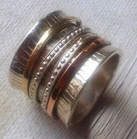 Spinner ring silver gold Israeli jewelry