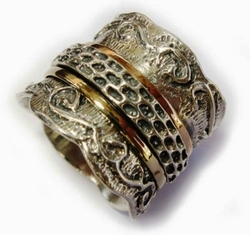Spinner ring silver gold lace design Israeli rings bague argent or