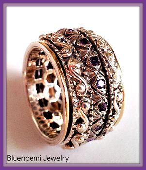 Spinner ring silver gold set with amethyst