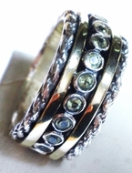 Spinner ring silver & gold set with cz and peridots