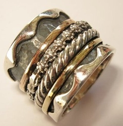 Spinner ring sterling silver rings with 9 carat gold
