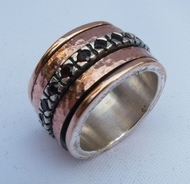 Spinner ring wide band silver gold rings. Rose gold sterling silver.