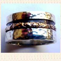 Spinner Rings small medium Sterling Silver and 9K Gold