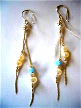 Blue Opals and Pearls Dangling Sterling silver earrings