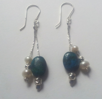 Earrings Danglig sterling silver with turquoise