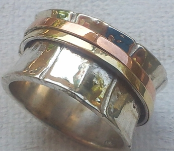 Ring silver gold 3  tones