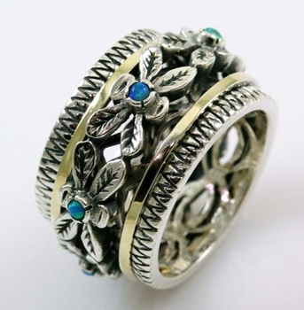 Israeli Floral ring silver gold gemstones
