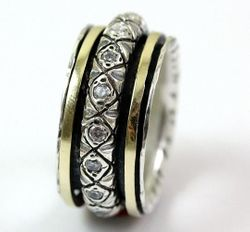 Israeli Jewelry cz zircons spinner ring silver and gold ring  Unisex