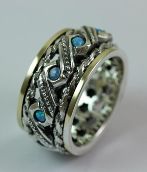 Ring spinner rings silver gold set with blue opals