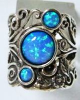 Israeli silver ring set blue Opals on sterling silver ring
