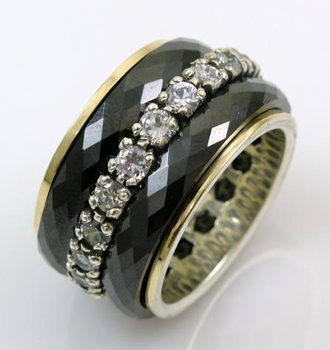 Ring silver gold spinner ceramics and cz zircons