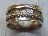 Ring silver gold spinning  flowers
