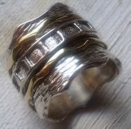 Spinner ring man ring silver & gold