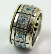 Blue opals spiner ring silver and gold mans ring
