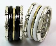Israeli Spinner ring silver gold ceramics