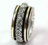 Israeli Jewelry spinner ring silver and gold ring  cz zircons Unisex