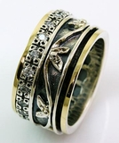 Israeli jewelry spinner ring floral band cz zircons