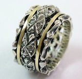 Ring spinner rings silver gold cz zircons for men