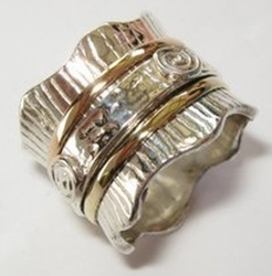 Spinning ring designer band silver and gold
