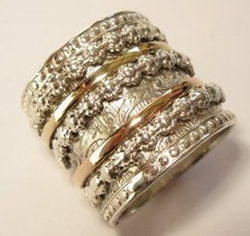 Spinner ring floral romantic meditation engagement bands