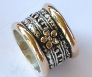 Spinning ring silver and gold with gold flower