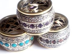 Spinning ring , spinner rings,  silver gold ring , amethysts / garnets / cz zircons / turquoises