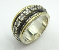 Spinning ring sterling silver and gold jewelry Cubic Zirconia Ring