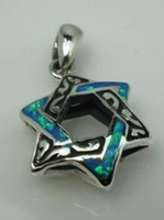 Star of David with opals on silver