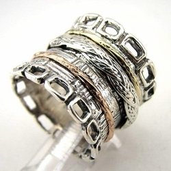 Sterling silver and gold spinner ring Israeli best sellers rings