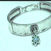 Sterling silver bracelet opal star of David charm