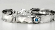 Sterling silver bracelet with flower and stone