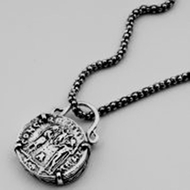Sterling silver designer necklace old roman coin motif