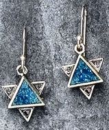 Sterling silver earrings with roman glass