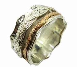 Sterling silver gold 9 carat celtic spinner ring bague anillo