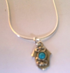 Sterling silver hamsa opal necklace Free Shipping