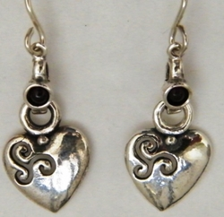 Sterling silver heart earrings Valentine gift