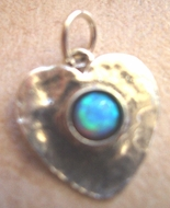 Sterling silver heart set blue opal