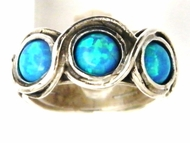 Sterling silver lab blue opals boho ring