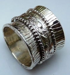 Sterling silver mens ring spinning jewellery