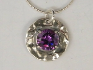Sterling silver necklace Israeli jewelry pendant cz amethyst zircon