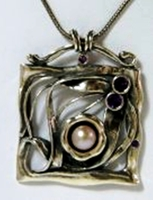 Sterling Silver necklace Pearls Amethyst  CZ zircons