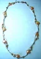 Sterling silver necklace set with pearls